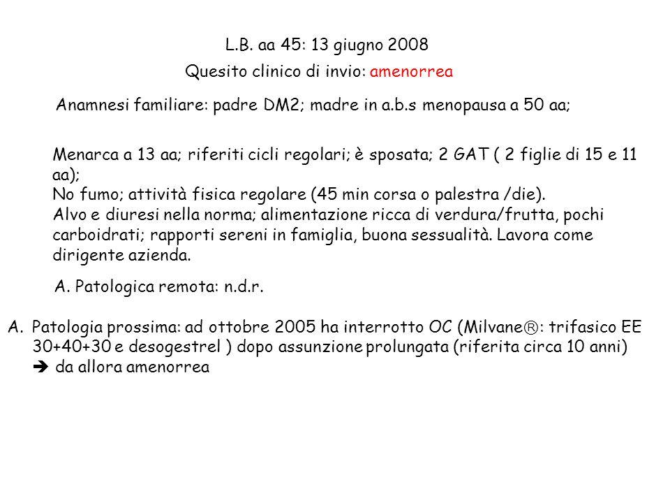 L.B. aa 45: 13 giugno 2008 Anamnesi familiare: padre DM2; madre in a.b.s menopausa a 50 aa; Menarca a 13 aa; riferiti cicli regolari; è sposata; 2 GAT