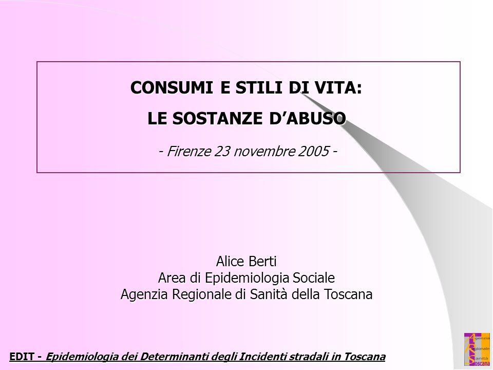 Alice Berti Area di Epidemiologia Sociale Agenzia Regionale di Sanità della Toscana EDIT - Epidemiologia dei Determinanti degli Incidenti stradali in