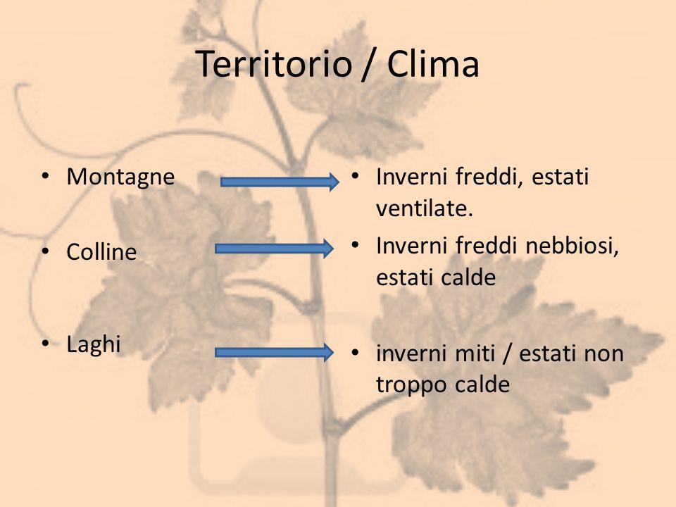 Territorio / Clima Montagne Colline Laghi Inverni freddi, estati ventilate. Inverni freddi nebbiosi, estati calde inverni miti / estati non troppo cal