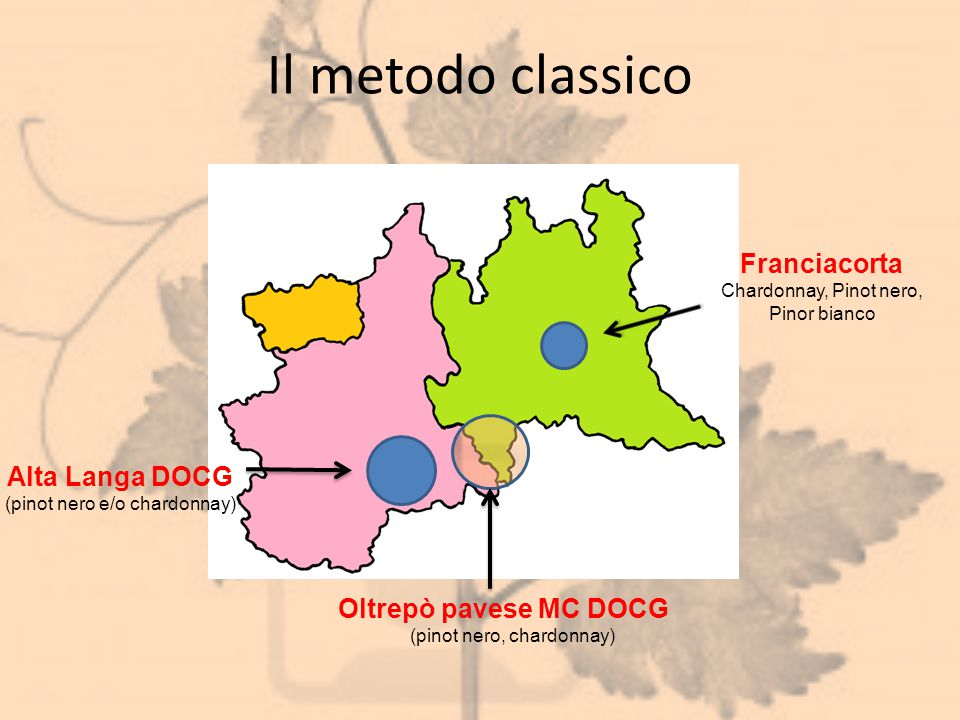 Il metodo classico Alta Langa DOCG (pinot nero e/o chardonnay) Oltrepò pavese MC DOCG (pinot nero, chardonnay) Franciacorta Chardonnay, Pinot nero, Pi