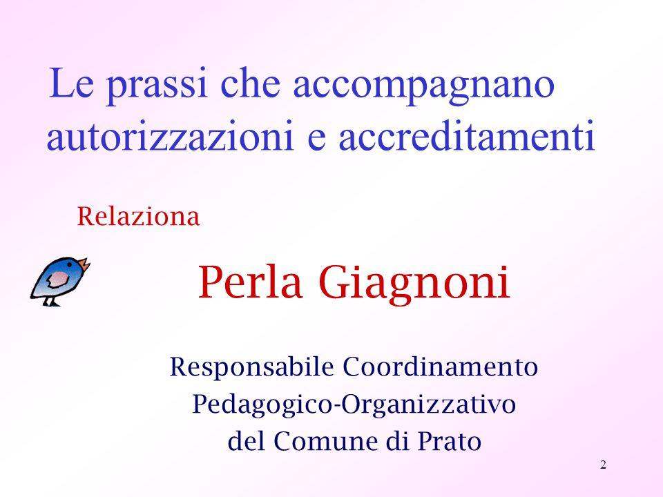 2 Le prassi che accompagnano autorizzazioni e accreditamenti Relaziona Perla Giagnoni Responsabile Coordinamento Pedagogico-Organizzativo del Comune d