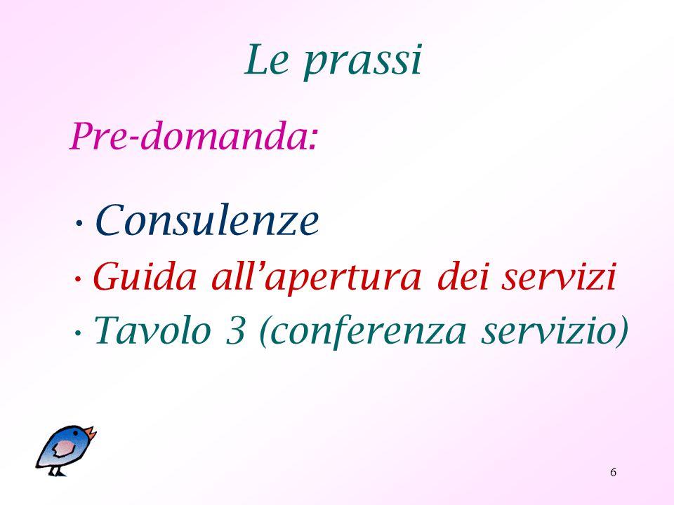 6 Le prassi Pre-domanda: Consulenze Guida all'apertura dei servizi Tavolo 3 (conferenza servizio)