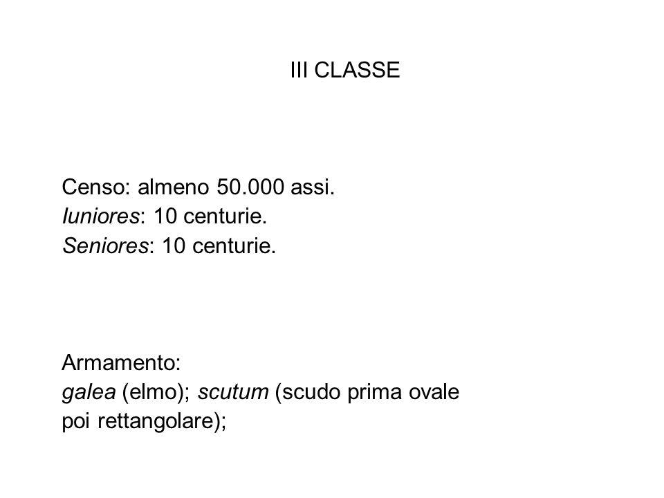 III CLASSE Censo: almeno 50.000 assi. Iuniores: 10 centurie. Seniores: 10 centurie. Armamento: galea (elmo); scutum (scudo prima ovale poi rettangolar