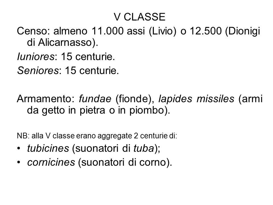 V CLASSE Censo: almeno 11.000 assi (Livio) o 12.500 (Dionigi di Alicarnasso). Iuniores: 15 centurie. Seniores: 15 centurie. Armamento: fundae (fionde)