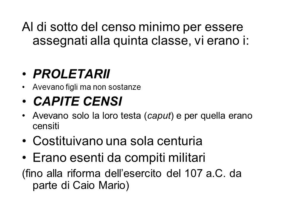 Al di sotto del censo minimo per essere assegnati alla quinta classe, vi erano i: PROLETARII Avevano figli ma non sostanze CAPITE CENSI Avevano solo l