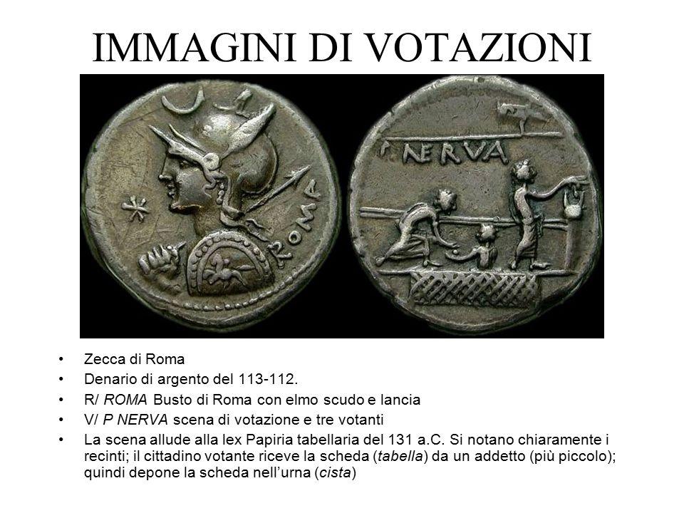 IMMAGINI DI VOTAZIONI Zecca di Roma Denario di argento del 113-112. R/ ROMA Busto di Roma con elmo scudo e lancia V/ P NERVA scena di votazione e tre