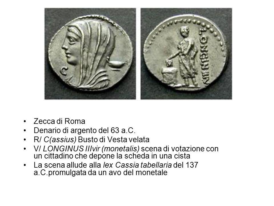 Zecca di Roma Denario di argento del 63 a.C. R/ C(assius) Busto di Vesta velata V/ LONGINUS IIIvir (monetalis) scena di votazione con un cittadino che