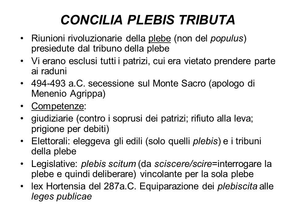 CONCILIA PLEBIS TRIBUTA Riunioni rivoluzionarie della plebe (non del populus) presiedute dal tribuno della plebe Vi erano esclusi tutti i patrizi, cui