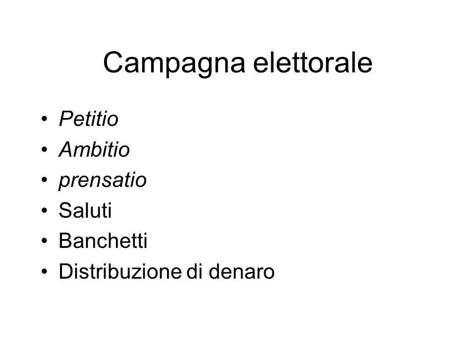Campagna elettorale Petitio Ambitio prensatio Saluti Banchetti Distribuzione di denaro