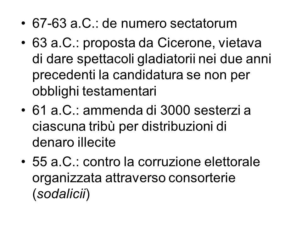67-63 a.C.: de numero sectatorum 63 a.C.: proposta da Cicerone, vietava di dare spettacoli gladiatorii nei due anni precedenti la candidatura se non p