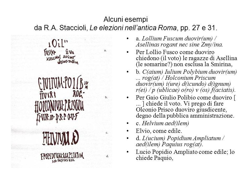 Alcuni esempi da R.A. Staccioli, Le elezioni nell'antica Roma, pp. 27 e 31. a. Lollium Fuscum duovir(um) / Asellinas rogant nec sine Zmy/ina. Per Loll