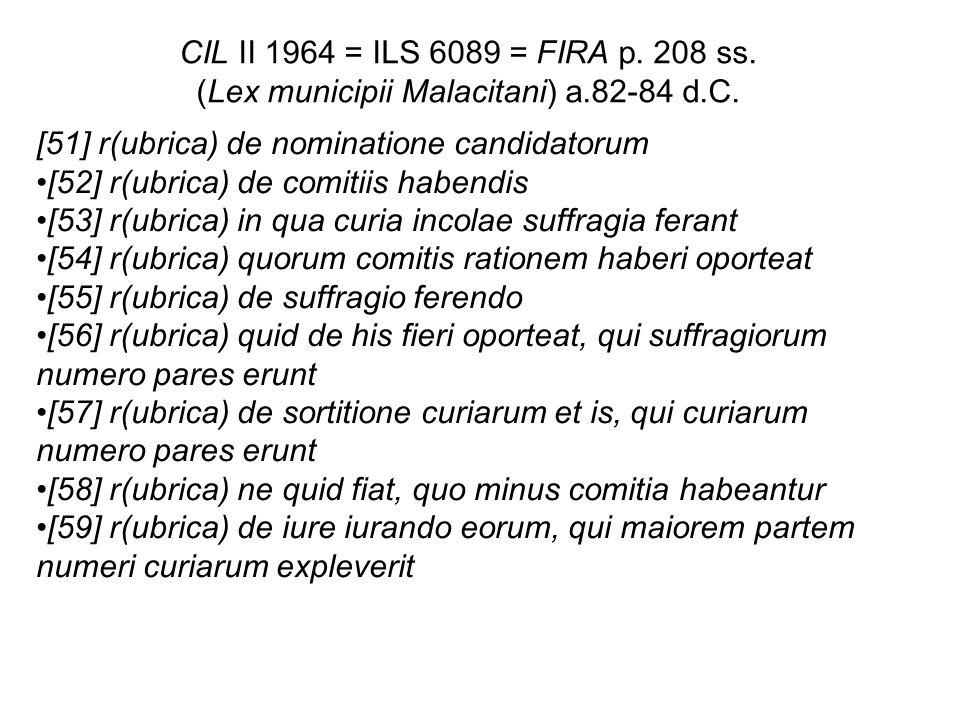 CIL II 1964 = ILS 6089 = FIRA p. 208 ss. (Lex municipii Malacitani) a.82-84 d.C. [51] r(ubrica) de nominatione candidatorum [52] r(ubrica) de comitiis