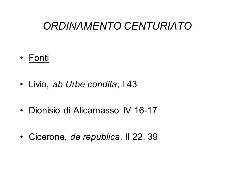 ORDINAMENTO CENTURIATO Fonti Livio, ab Urbe condita, I 43 Dionisio di Alicarnasso IV 16-17 Cicerone, de republica, II 22, 39