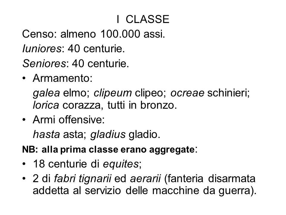 I CLASSE Censo: almeno 100.000 assi. Iuniores: 40 centurie. Seniores: 40 centurie. Armamento: galea elmo; clipeum clipeo; ocreae schinieri; lorica cor
