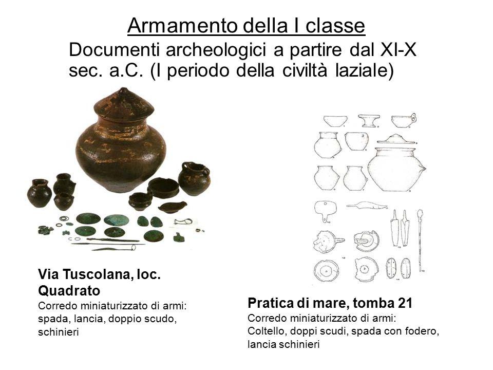 Armamento della I classe Documenti archeologici a partire dal XI-X sec. a.C. (I periodo della civiltà laziale) Via Tuscolana, loc. Quadrato Corredo mi
