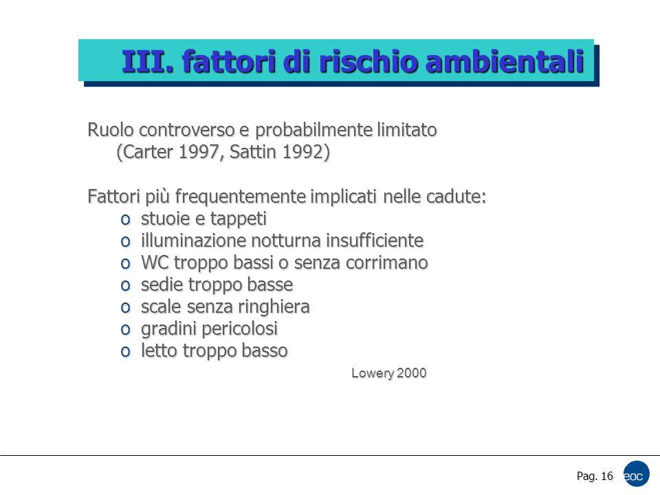 Pag. 16 Ruolo controverso e probabilmente limitato (Carter 1997, Sattin 1992) (Carter 1997, Sattin 1992) Fattori più frequentemente implicati nelle