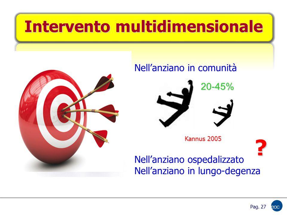 Intervento multidimensionale Nell'anziano in comunità Nell'anziano ospedalizzato Nell'anziano in lungo-degenza 20-45% .