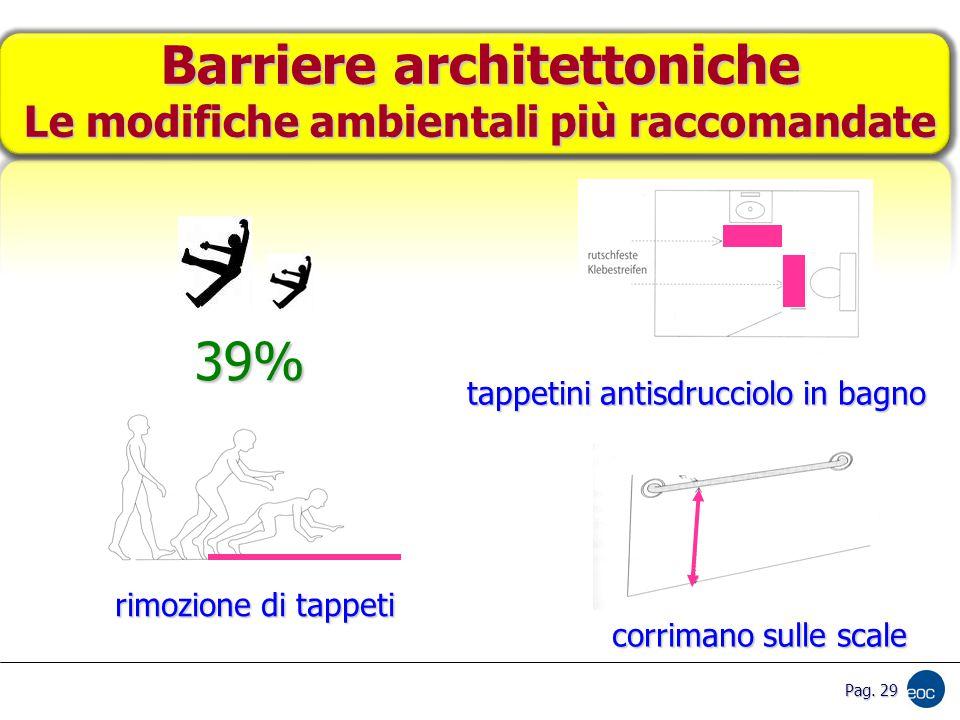 Barriere architettoniche Le modifiche ambientali più raccomandate rimozione di tappeti tappetini antisdrucciolo in bagno corrimano sulle scale 39% Pag.