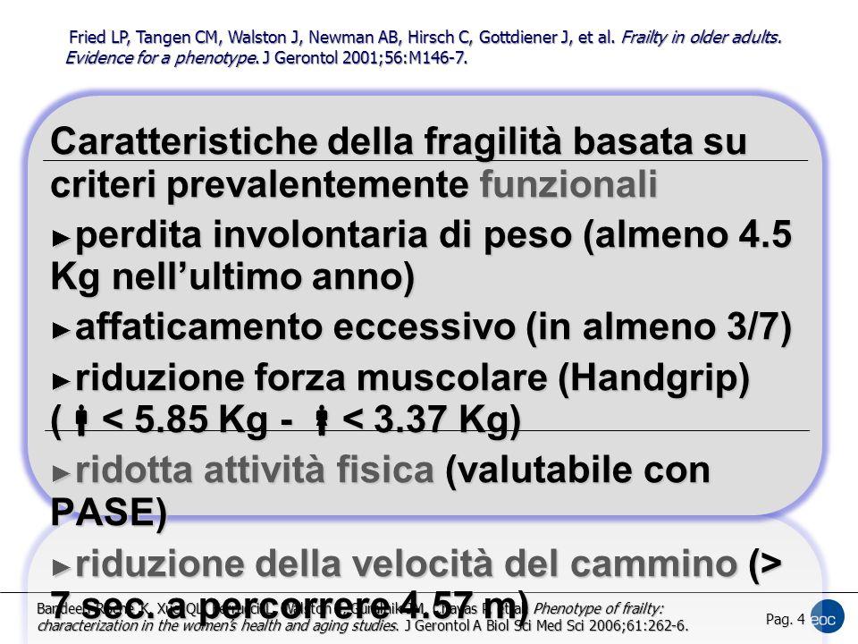 Caratteristiche della fragilità basata su criteri prevalentemente funzionali ► perdita involontaria di peso (almeno 4.5 Kg nell'ultimo anno) ► affaticamento eccessivo (in almeno 3/7) ► riduzione forza muscolare (Handgrip) (  < 5.85 Kg -  < 3.37 Kg) ► ridotta attività fisica (valutabile con PASE) ► riduzione della velocità del cammino (> 7 sec.