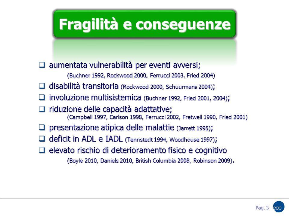 Pag. 5 Fragilità e conseguenze  aumentata vulnerabilità per eventi avversi; (Buchner 1992, Rockwood 2000, Ferrucci 2003, Fried 2004)  disabilità tra