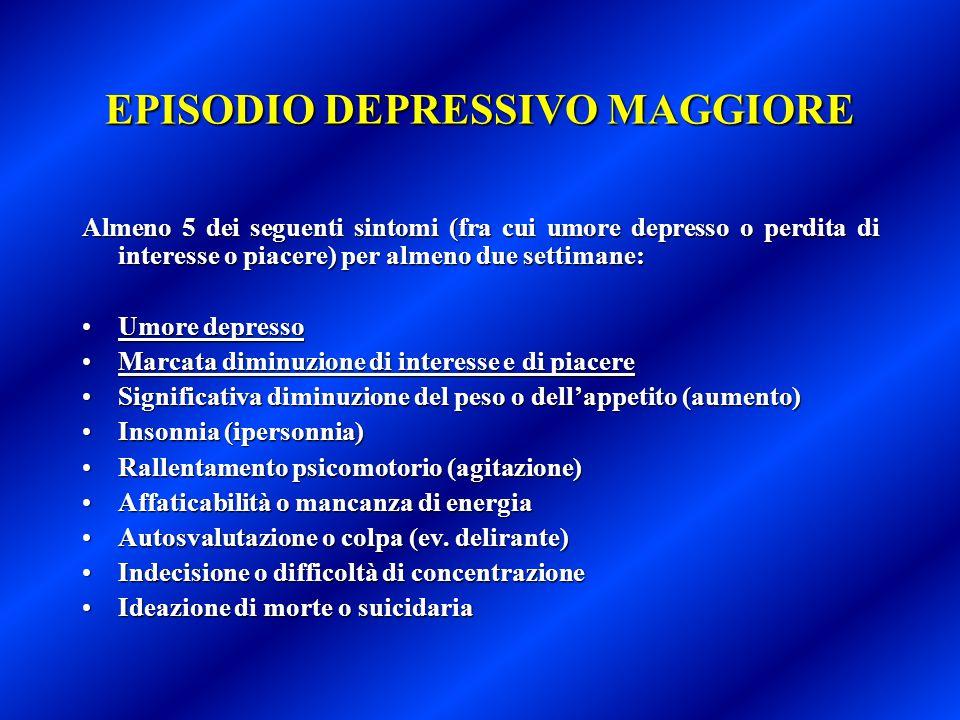 EPISODIO DEPRESSIVO MAGGIORE Almeno 5 dei seguenti sintomi (fra cui umore depresso o perdita di interesse o piacere) per almeno due settimane: Umore d