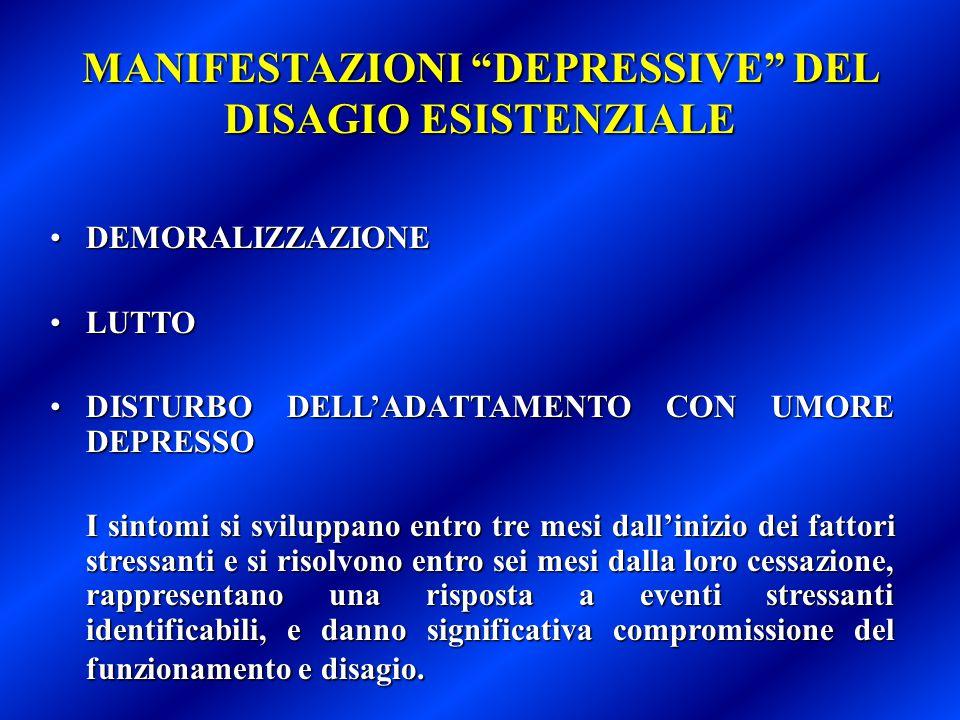 """MANIFESTAZIONI """"DEPRESSIVE"""" DEL DISAGIO ESISTENZIALE DEMORALIZZAZIONEDEMORALIZZAZIONE LUTTOLUTTO DISTURBO DELL'ADATTAMENTO CON UMORE DEPRESSODISTURBO"""