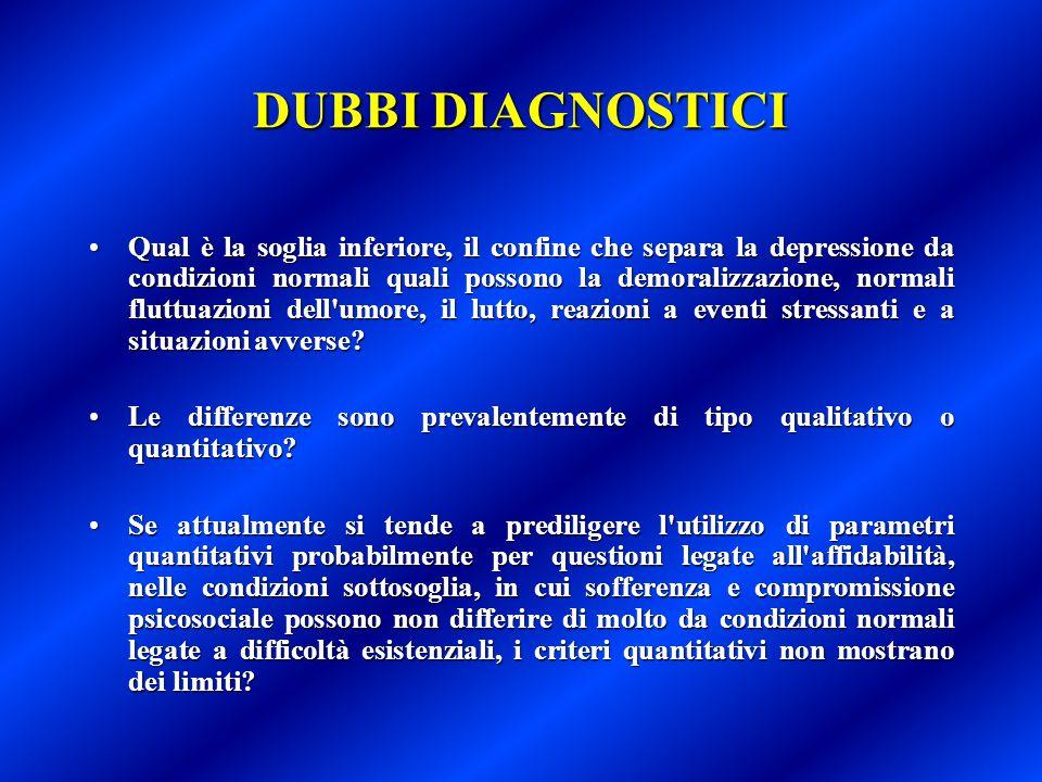 DUBBI DIAGNOSTICI Qual è la soglia inferiore, il confine che separa la depressione da condizioni normali quali possono la demoralizzazione, normali fl