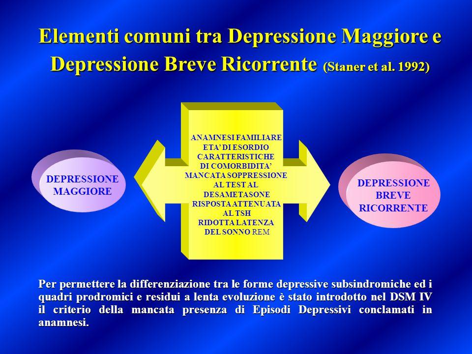 Elementi comuni tra Depressione Maggiore e Depressione Breve Ricorrente (Staner et al. 1992) Per permettere la differenziazione tra le forme depressiv