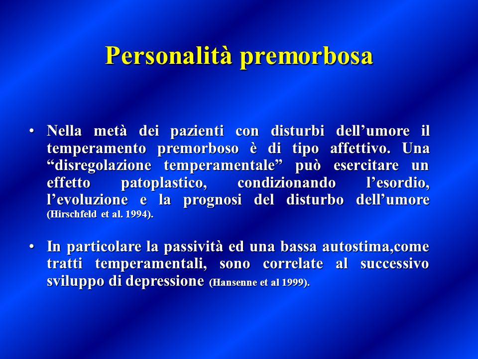 """Personalità premorbosa Nella metà dei pazienti con disturbi dell'umore il temperamento premorboso è di tipo affettivo. Una """"disregolazione temperament"""