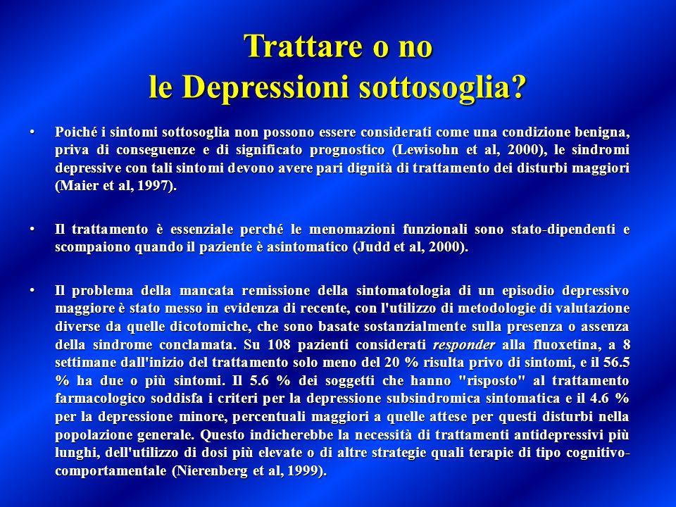 Trattare o no le Depressioni sottosoglia? Poiché i sintomi sottosoglia non possono essere considerati come una condizione benigna, priva di conseguenz