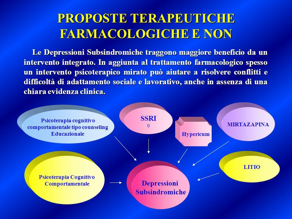 PROPOSTE TERAPEUTICHE FARMACOLOGICHE E NON Le Depressioni Subsindromiche traggono maggiore beneficio da un intervento integrato. In aggiunta al tratta