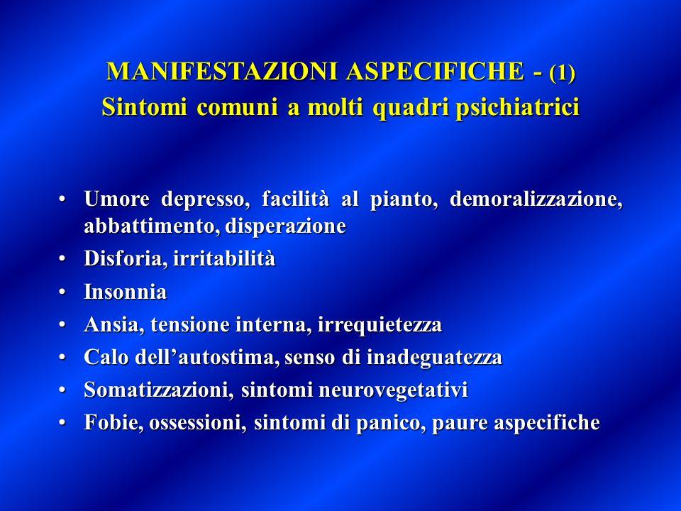 MANIFESTAZIONI ASPECIFICHE - (2) Sintomi trasversali ai quadri psichici e fisici Insonnia, ipersonniaInsonnia, ipersonnia Disturbi della concentrazione e dell'attenzioneDisturbi della concentrazione e dell'attenzione Disturbi della memoriaDisturbi della memoria Sintomi somatici (astenia, affaticabilità, dispnea, palpitazioni, sudorazione, dolori muscolari, tremori, cefalea, sintomi gastro-intestinali, ecc.)Sintomi somatici (astenia, affaticabilità, dispnea, palpitazioni, sudorazione, dolori muscolari, tremori, cefalea, sintomi gastro-intestinali, ecc.) Disturbi dell'appetitoDisturbi dell'appetito Disturbi della sessualitàDisturbi della sessualità