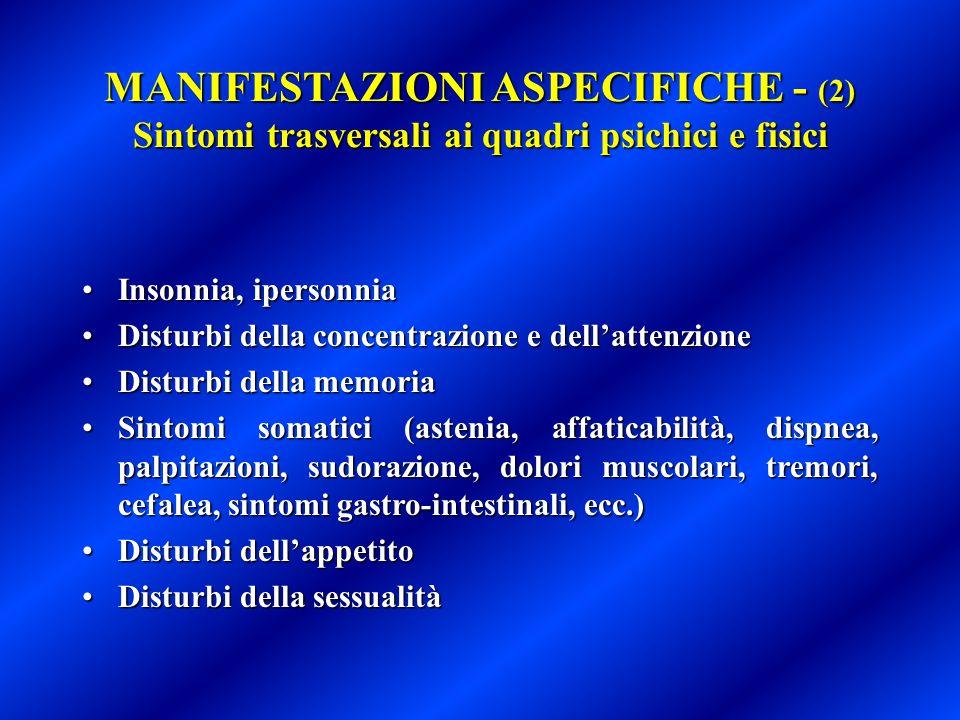 MANIFESTAZIONI ASPECIFICHE - (2) Sintomi trasversali ai quadri psichici e fisici Insonnia, ipersonniaInsonnia, ipersonnia Disturbi della concentrazion