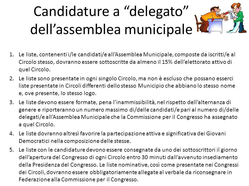 Candidature a delegato dell'assemblea municipale 1.Le liste, contenenti i/le candidati/e all'Assemblea Municipale, composte da iscritti/e al Circolo stesso, dovranno essere sottoscritte da almeno il 15% dell'elettorato attivo di quel Circolo.