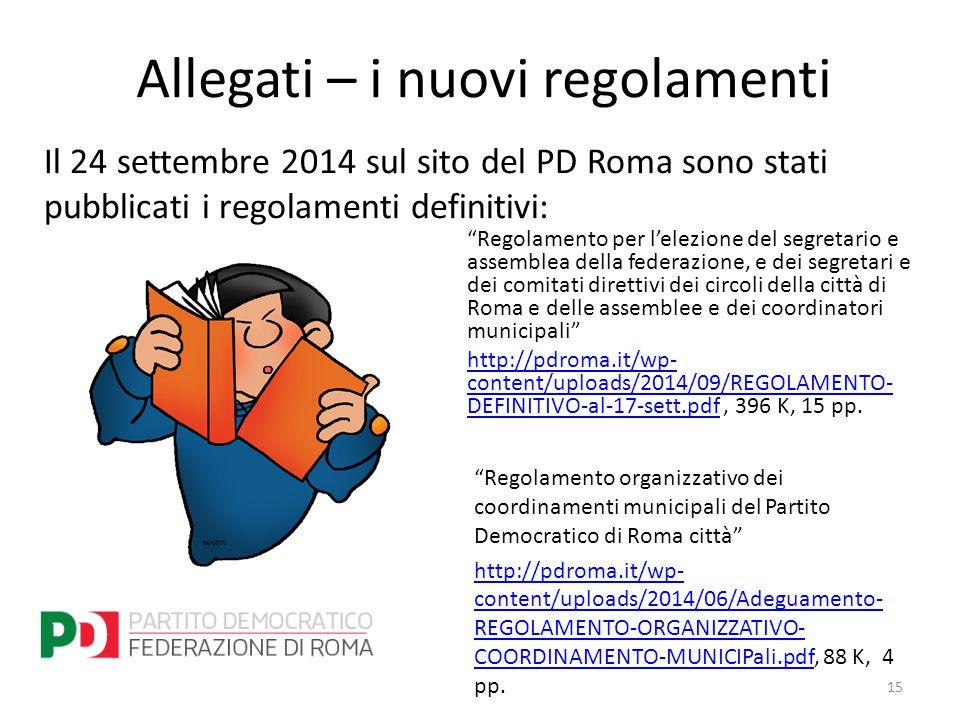 Allegati – i nuovi regolamenti Regolamento per l'elezione del segretario e assemblea della federazione, e dei segretari e dei comitati direttivi dei circoli della città di Roma e delle assemblee e dei coordinatori municipali http://pdroma.it/wp- content/uploads/2014/09/REGOLAMENTO- DEFINITIVO-al-17-sett.pdfhttp://pdroma.it/wp- content/uploads/2014/09/REGOLAMENTO- DEFINITIVO-al-17-sett.pdf, 396 K, 15 pp.