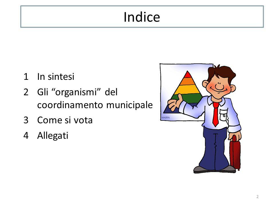 Indice 2 1In sintesi 2Gli organismi del coordinamento municipale 3Come si vota 4Allegati