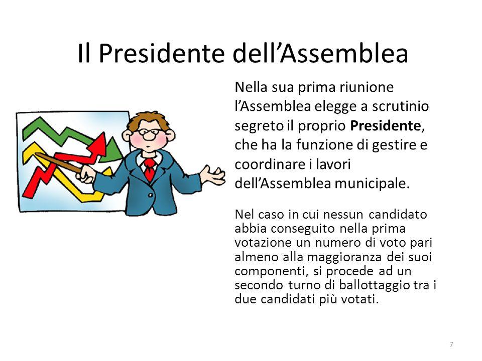 Il Presidente dell'Assemblea Nella sua prima riunione l'Assemblea elegge a scrutinio segreto il proprio Presidente, che ha la funzione di gestire e coordinare i lavori dell'Assemblea municipale.