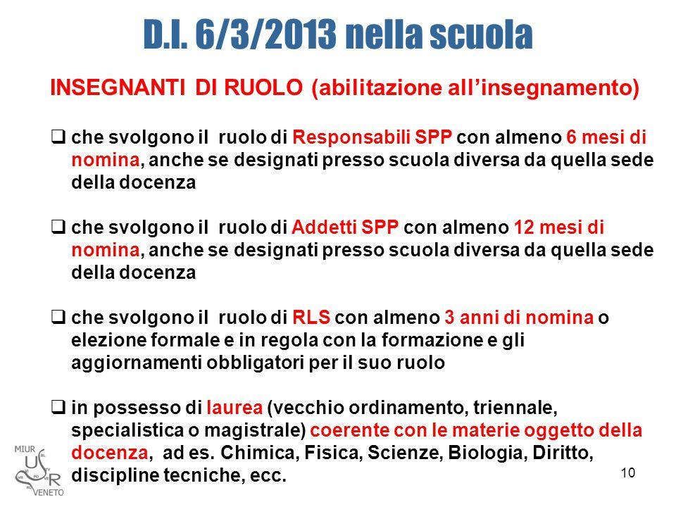 D.I. 6/3/2013 nella scuola INSEGNANTI DI RUOLO (abilitazione all'insegnamento)  che svolgono il ruolo di Responsabili SPP con almeno 6 mesi di nomina