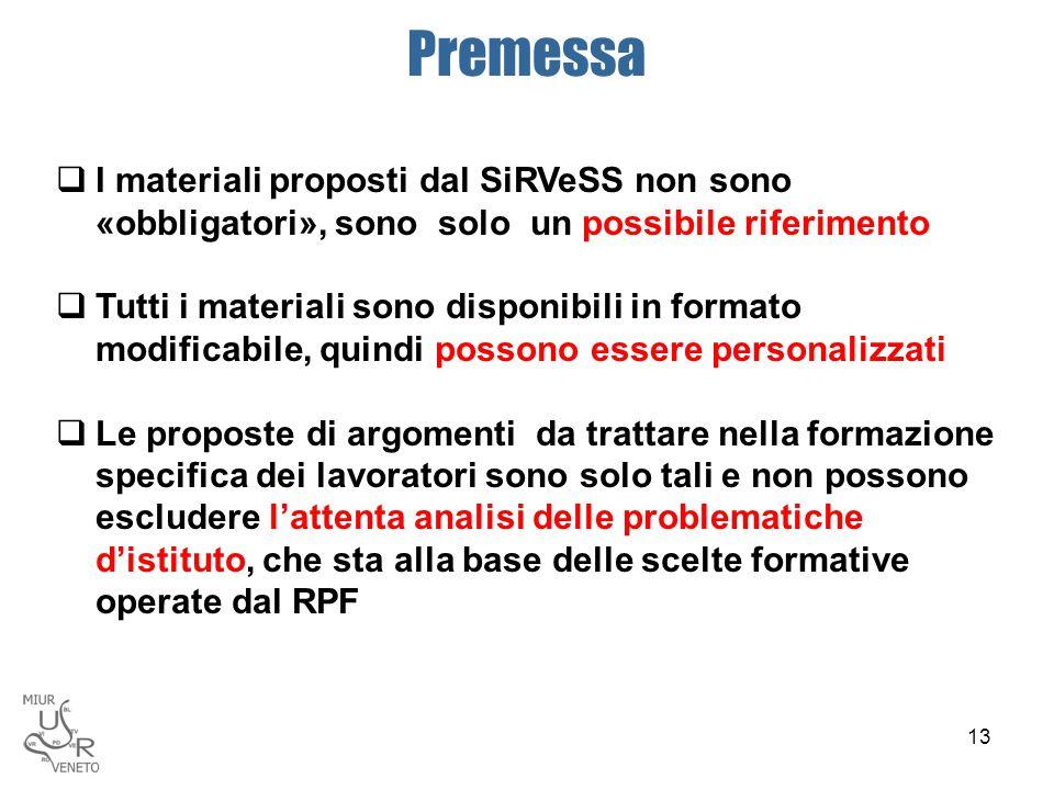 Premessa  I materiali proposti dal SiRVeSS non sono «obbligatori», sono solo un possibile riferimento  Tutti i materiali sono disponibili in formato