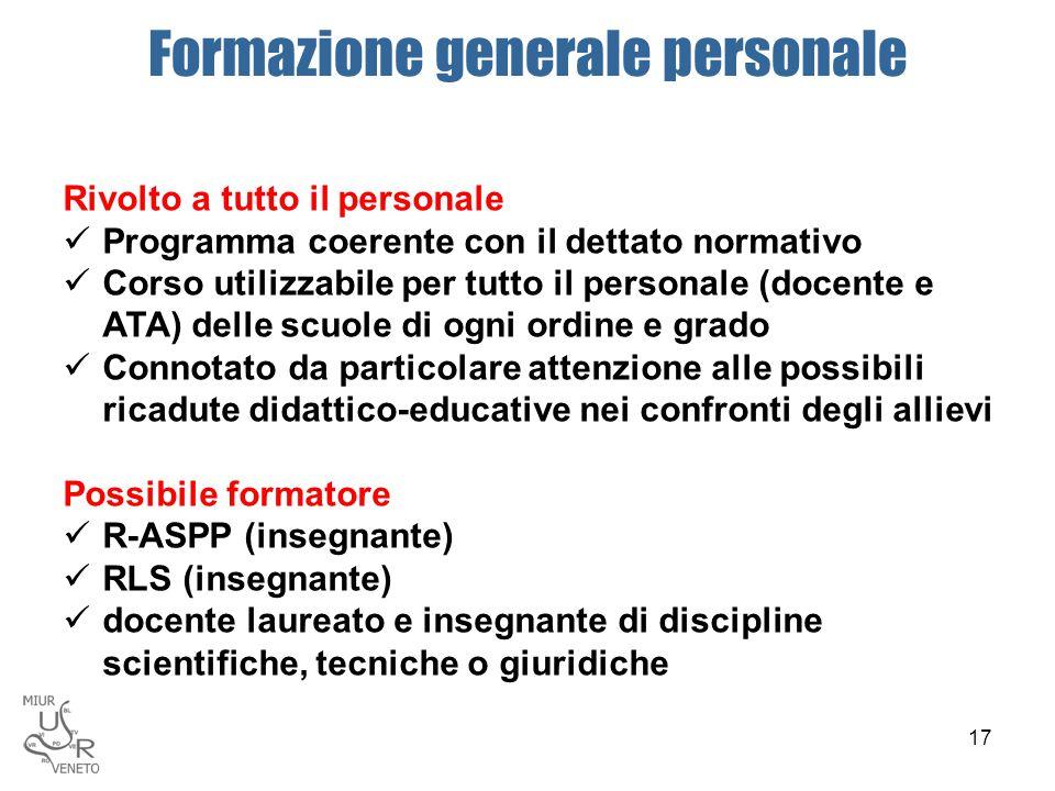 Formazione generale personale Rivolto a tutto il personale Programma coerente con il dettato normativo Corso utilizzabile per tutto il personale (doce