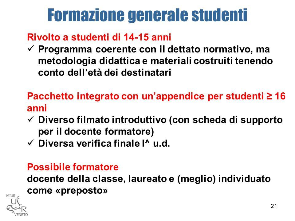 Formazione generale studenti Rivolto a studenti di 14-15 anni Programma coerente con il dettato normativo, ma metodologia didattica e materiali costru