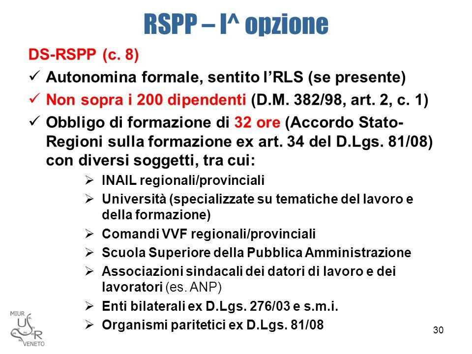 RSPP – I^ opzione DS-RSPP (c. 8) Autonomina formale, sentito l'RLS (se presente) Non sopra i 200 dipendenti (D.M. 382/98, art. 2, c. 1) Obbligo di for