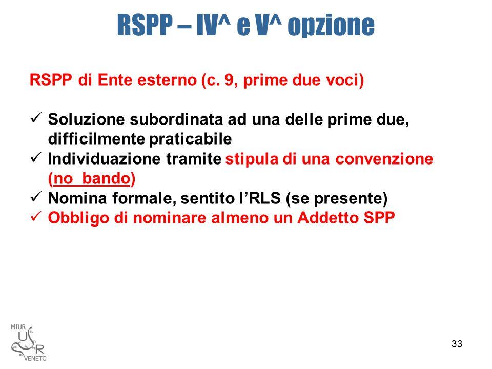 RSPP – IV^ e V^ opzione RSPP di Ente esterno (c. 9, prime due voci) Soluzione subordinata ad una delle prime due, difficilmente praticabile Individuaz