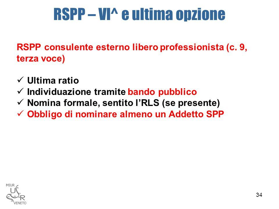 RSPP – VI^ e ultima opzione RSPP consulente esterno libero professionista (c. 9, terza voce) Ultima ratio Individuazione tramite bando pubblico Nomina