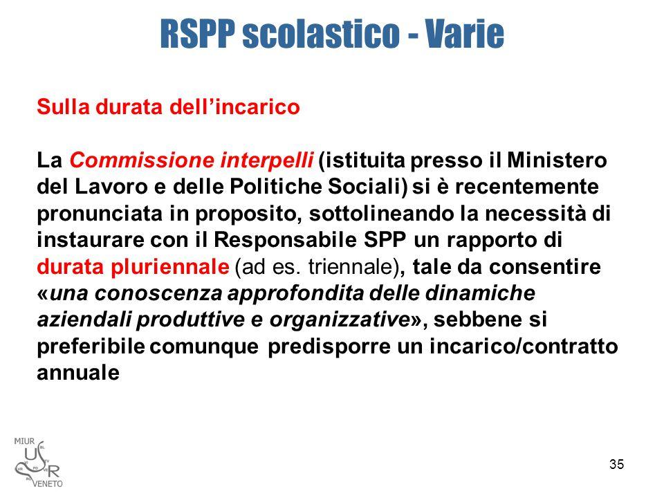 RSPP scolastico - Varie Sulla durata dell'incarico La Commissione interpelli (istituita presso il Ministero del Lavoro e delle Politiche Sociali) si è