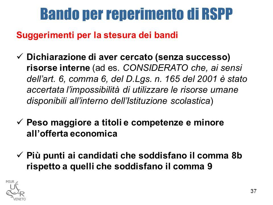 Bando per reperimento di RSPP Suggerimenti per la stesura dei bandi Dichiarazione di aver cercato (senza successo) risorse interne (ad es. CONSIDERATO