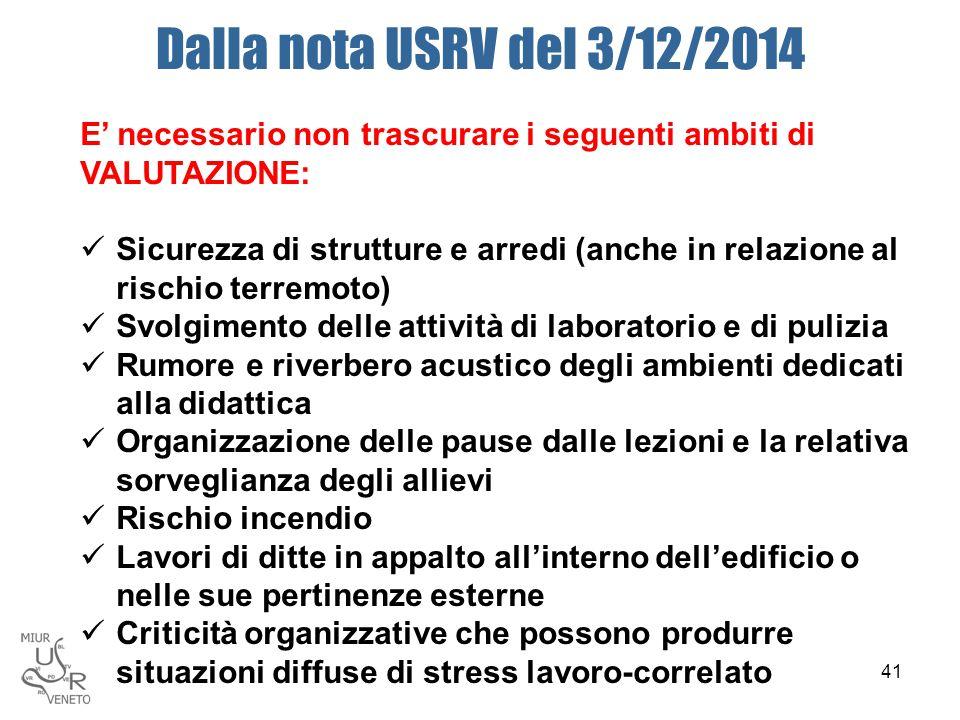 Dalla nota USRV del 3/12/2014 E' necessario non trascurare i seguenti ambiti di VALUTAZIONE: Sicurezza di strutture e arredi (anche in relazione al ri