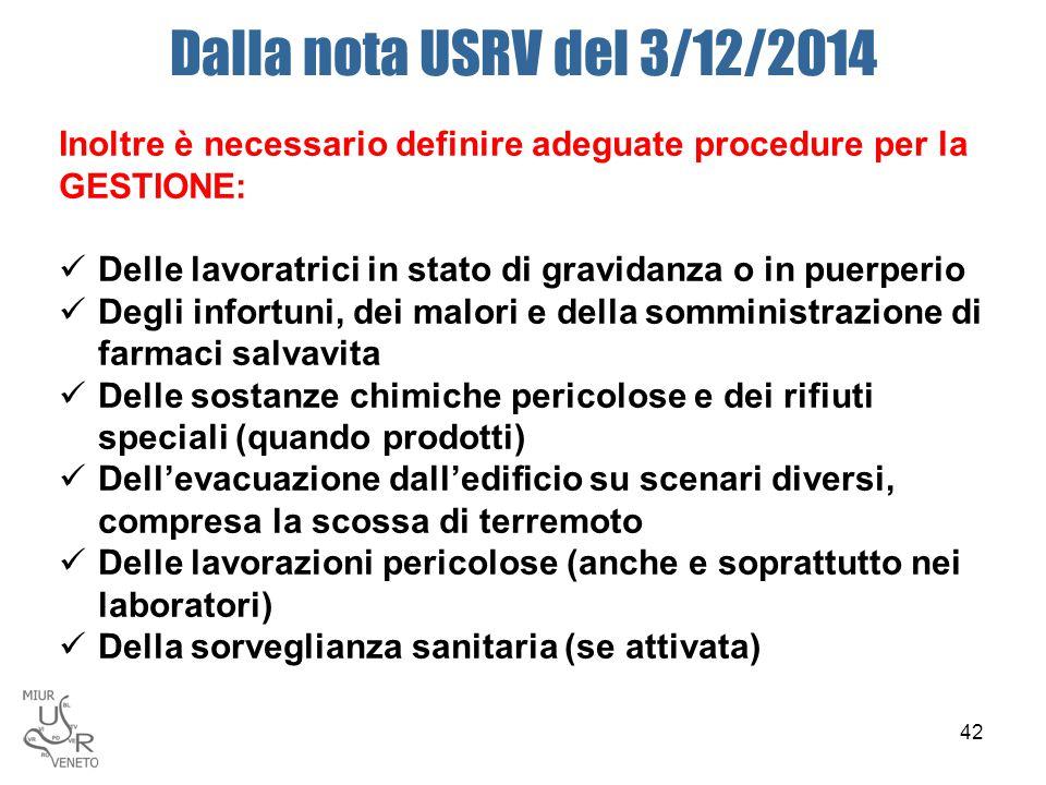 Dalla nota USRV del 3/12/2014 Inoltre è necessario definire adeguate procedure per la GESTIONE: Delle lavoratrici in stato di gravidanza o in puerperi