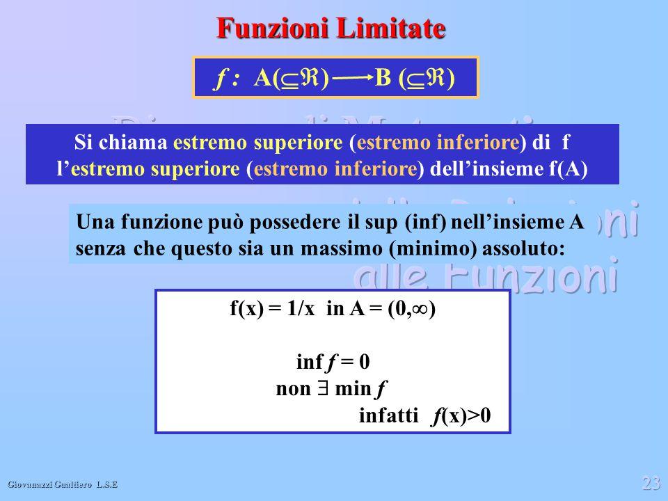 Giovanazzi Gualtiero L.S.E 23 Funzioni Limitate Si chiama estremo superiore (estremo inferiore) di f l'estremo superiore (estremo inferiore) dell'insi