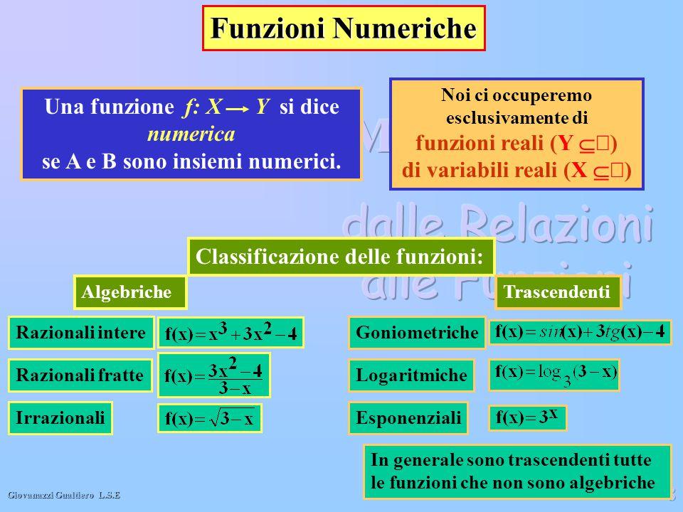 Giovanazzi Gualtiero L.S.E 8 Funzioni Numeriche Noi ci occuperemo esclusivamente di funzioni reali (Y  ) di variabili reali (X  ) Classificazione